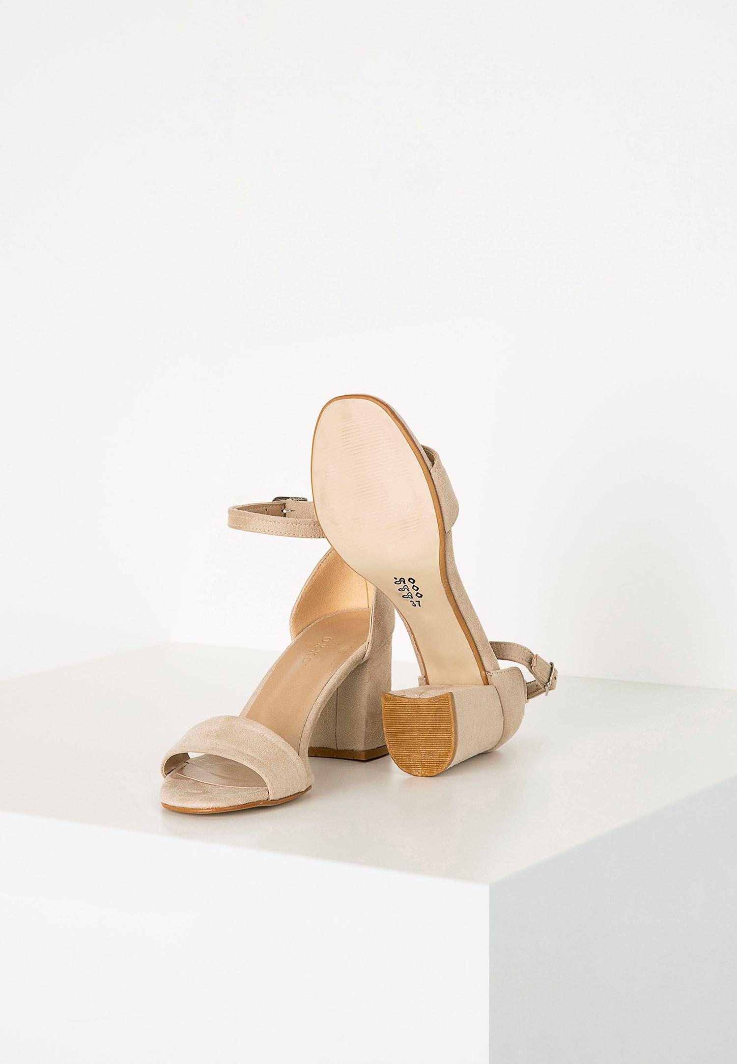 Bayan Krem Tek Bantlı Topuklu Ayakkabı