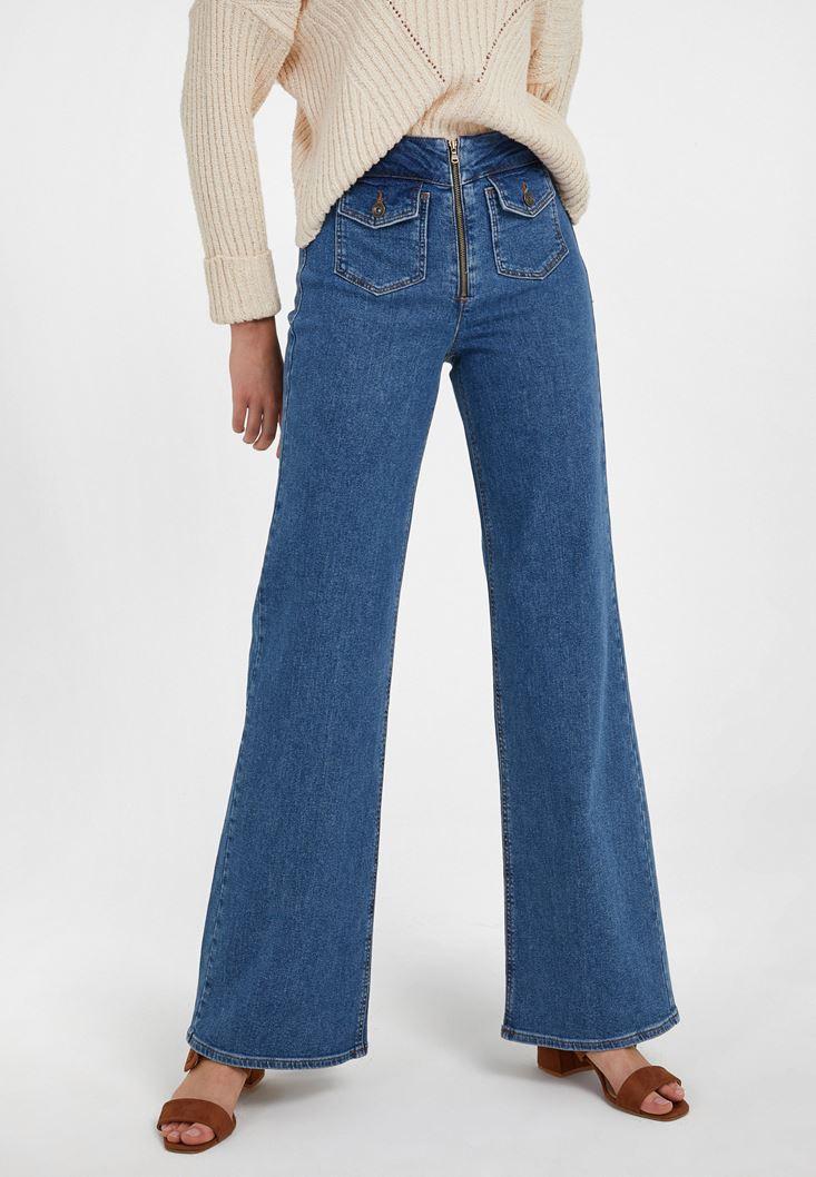 Mavi Ultra Yüksek Bel Denim Pantolon