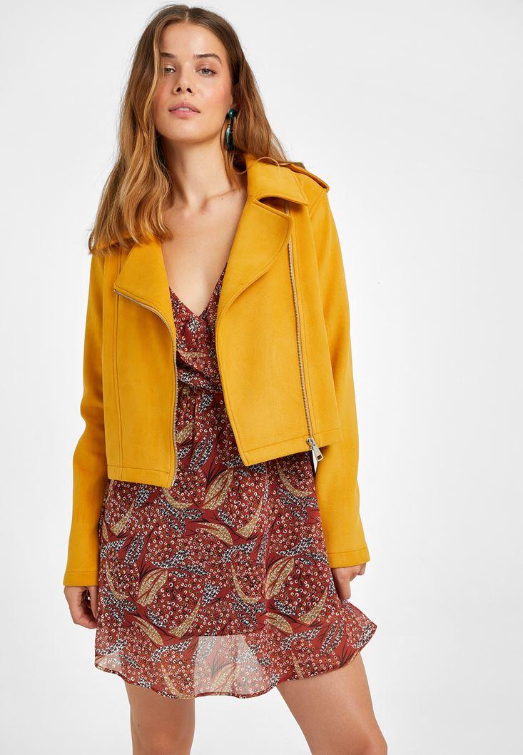 Sarı Süet Biker Ceket