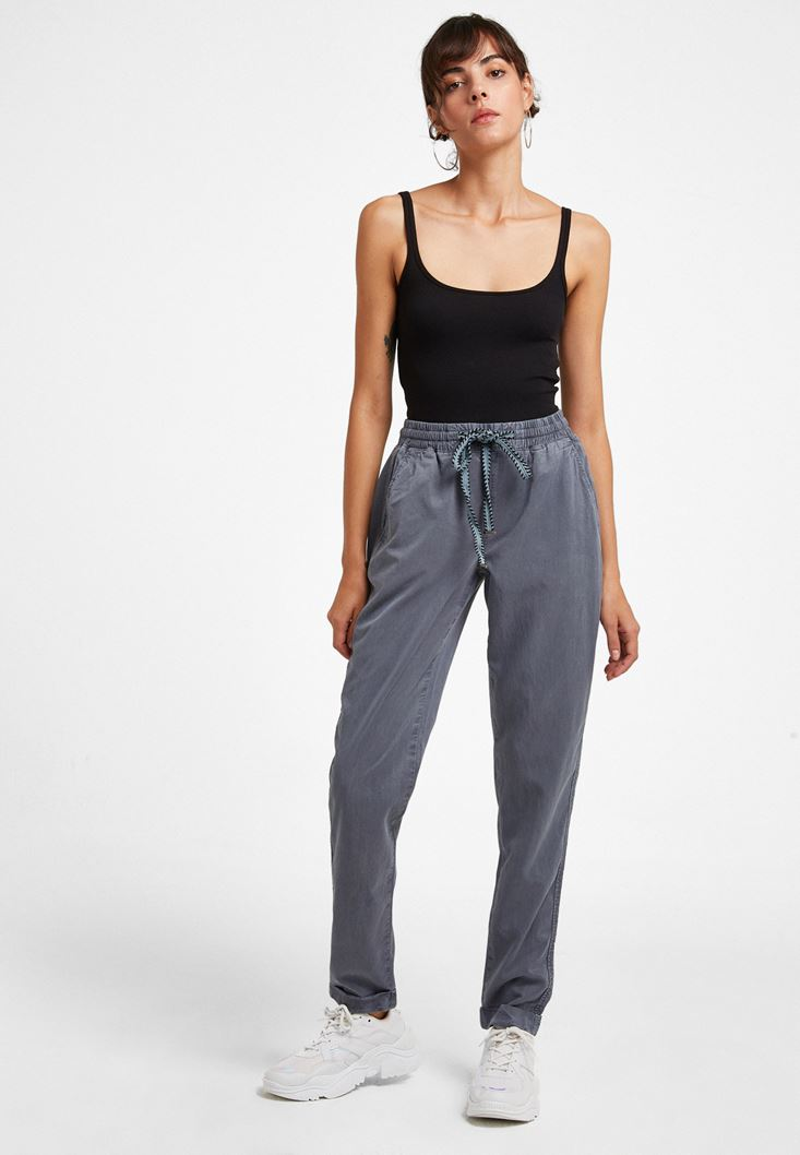 Grey Pants with Elastic Waist