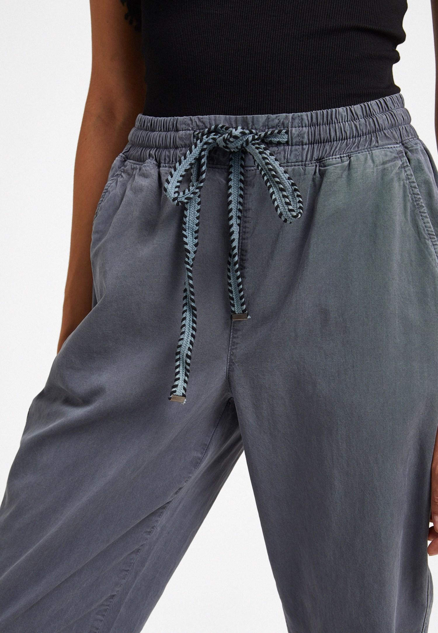 Women Grey Pants with Elastic Waist