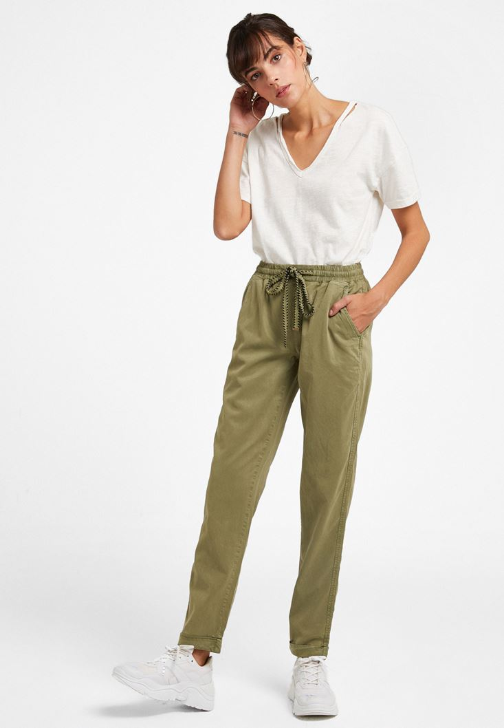 Green Pants with Elastic Waist