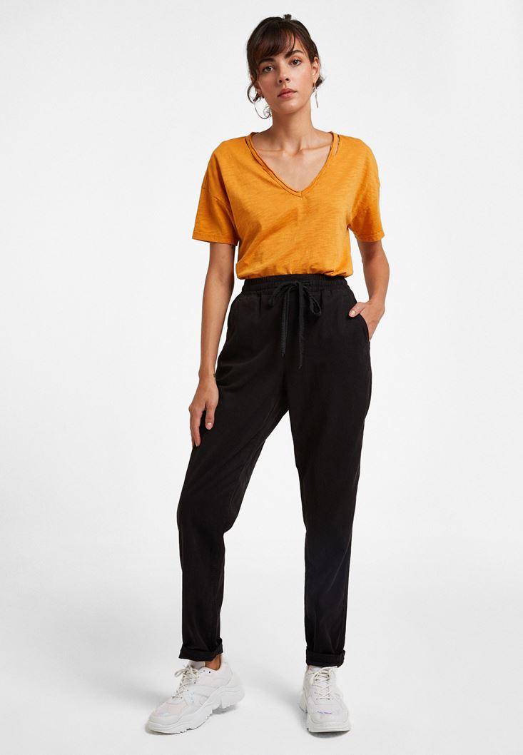 Siyah Bağlamalı Pantolon