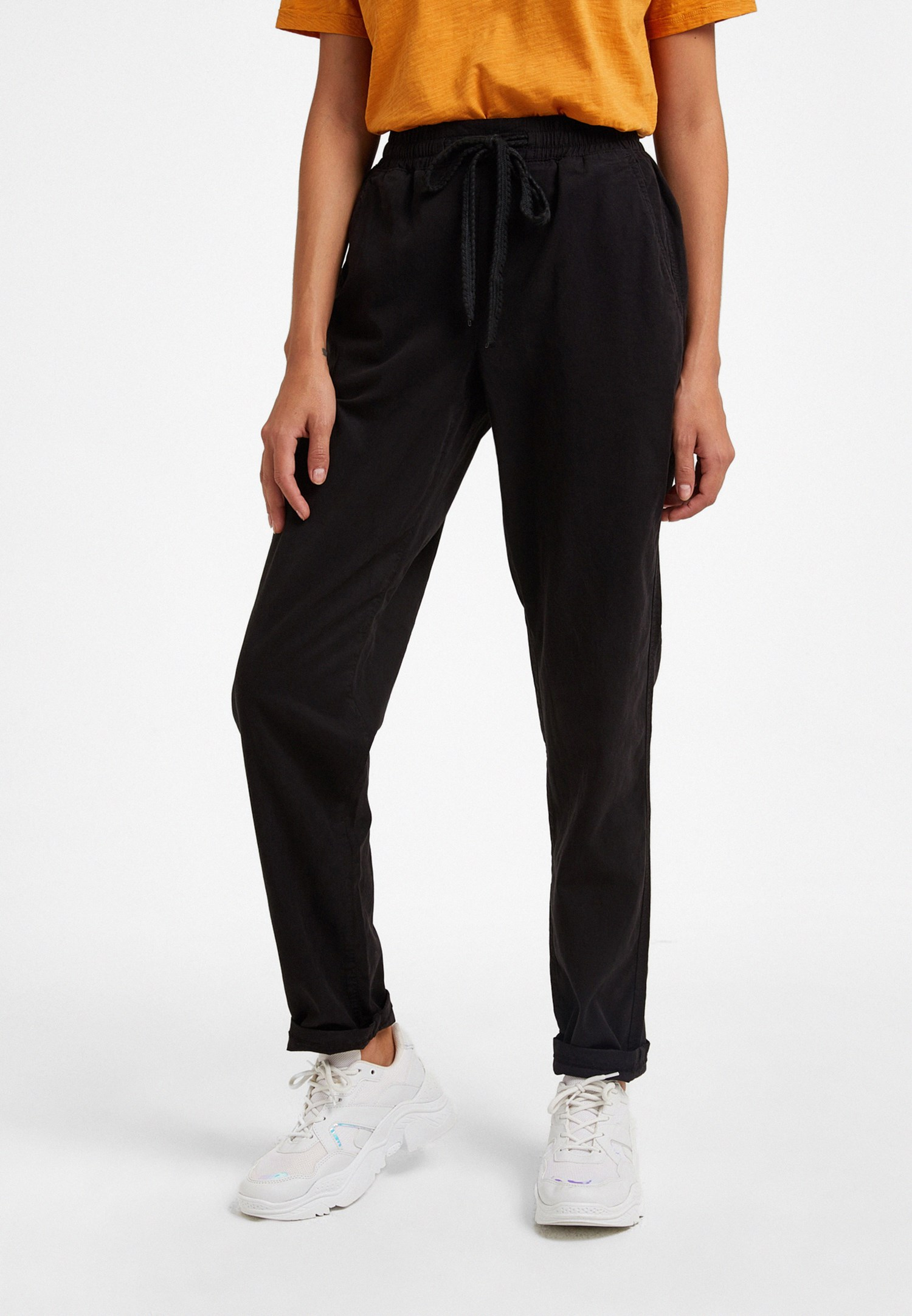 Bayan Siyah Bağlamalı Pantolon