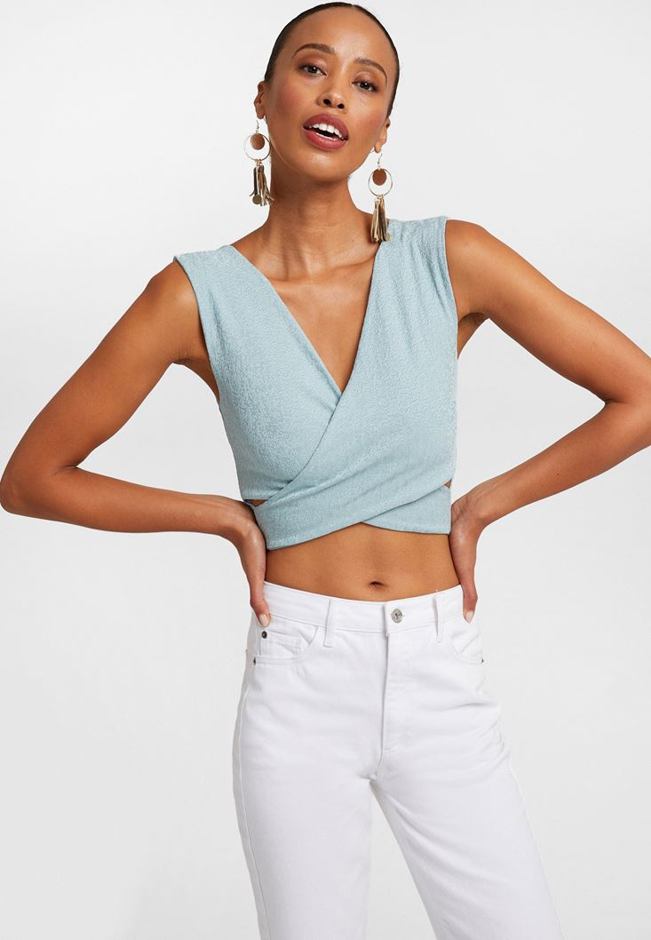 Blue Cross-over Crop Top
