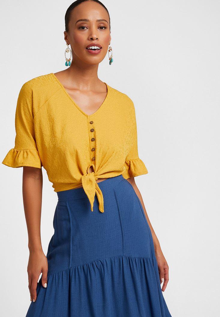 Sarı Fırfır Detaylı Düğmeli Bluz