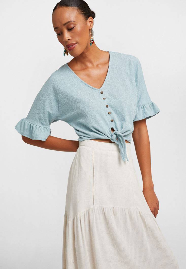 Blue Ruffled Blouse with Buttons