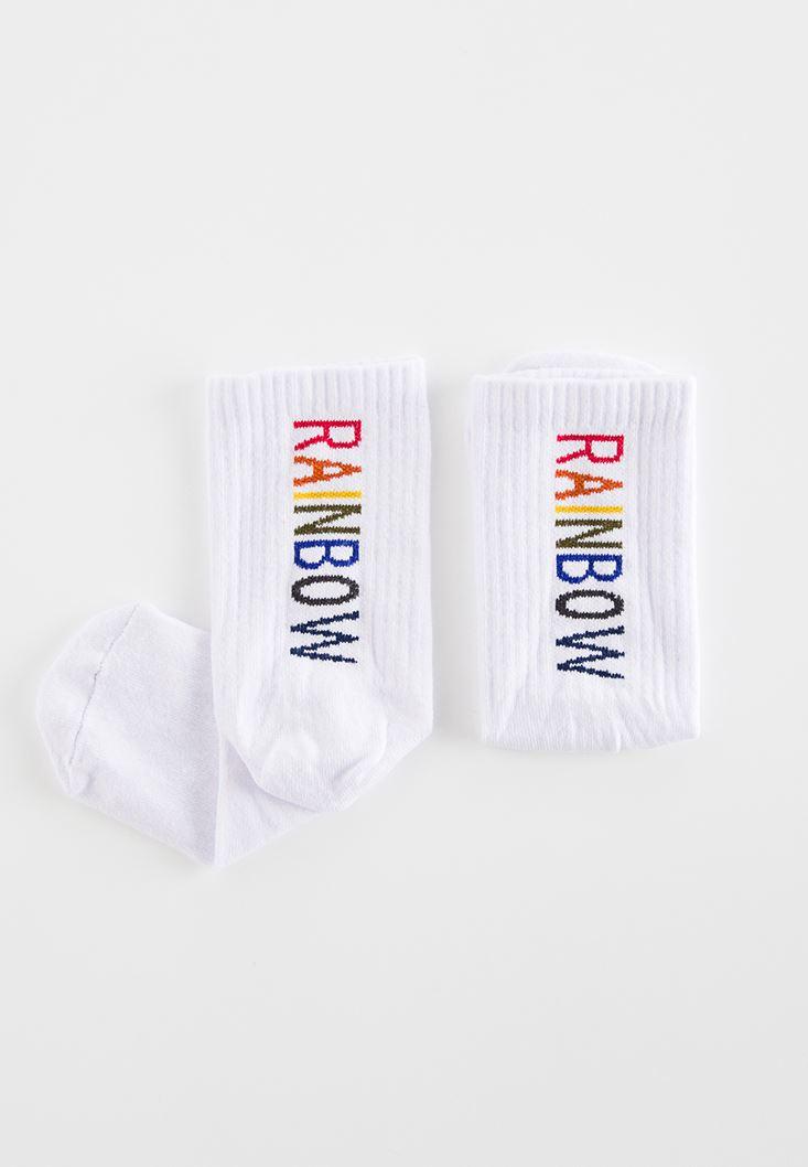 Çok Renkli Rainbow Sloganlı Çorap