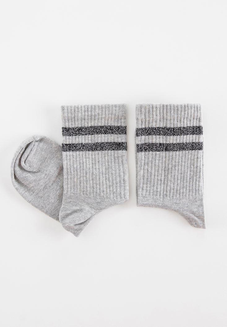 Gri Parlak Detaylı Çorap