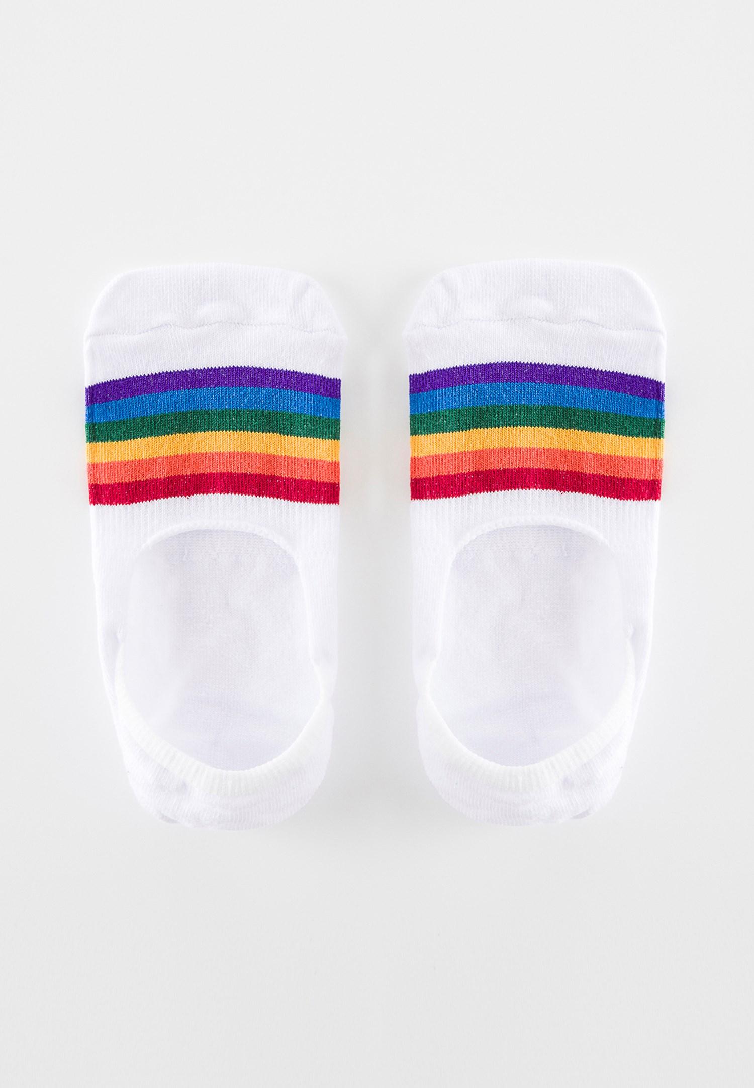 Bayan Çok Renkli Çizgili Babet Çorabı