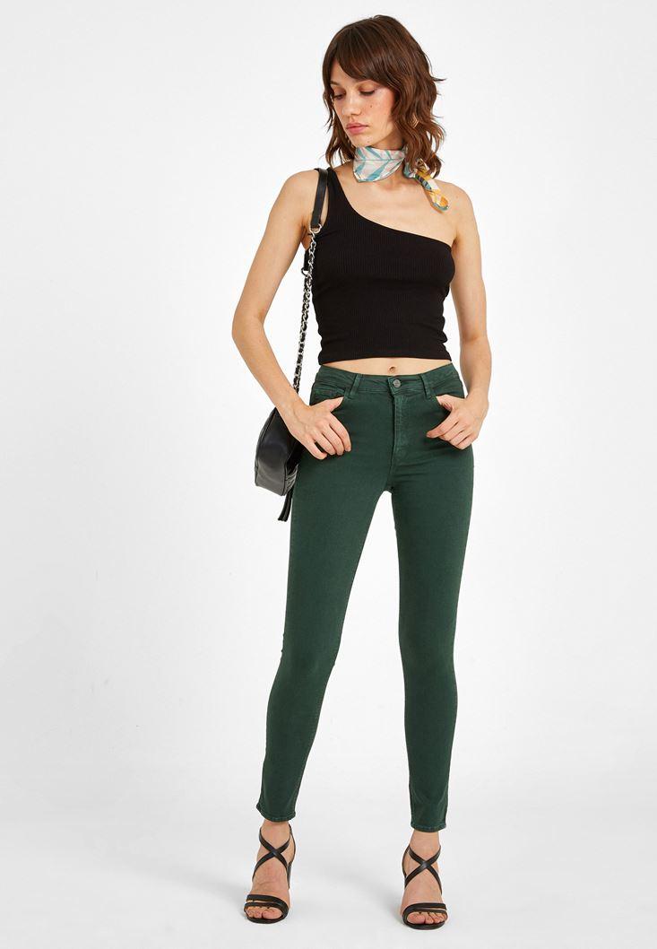 Yeşil Yüksek Bel Pantolon