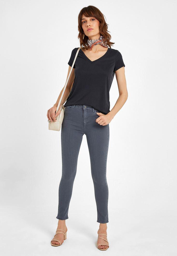 Gri Yüksek Bel Pantolon