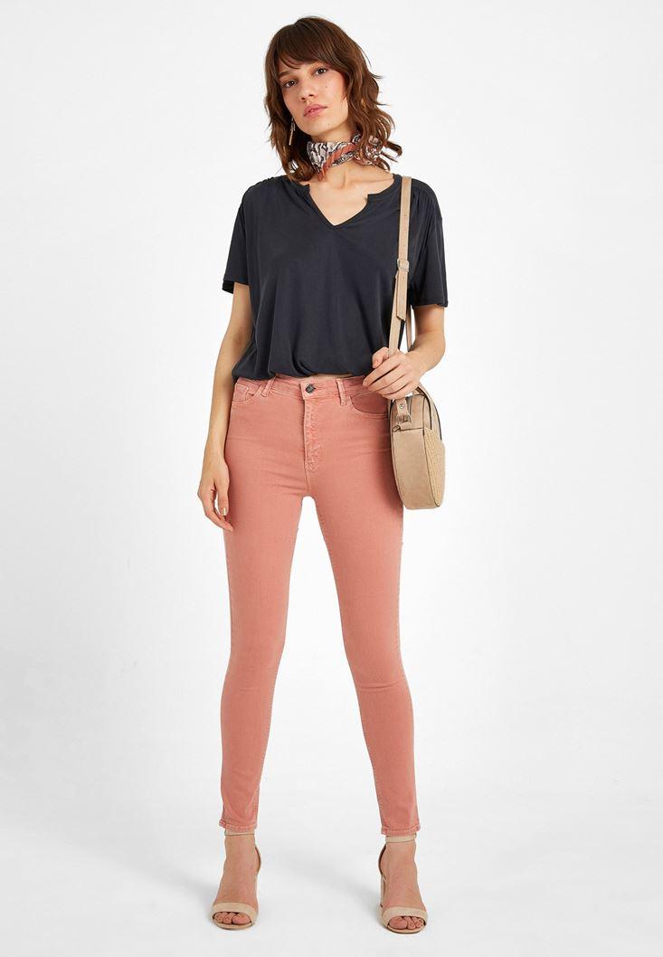 Turuncu Yüksek Bel Pantolon