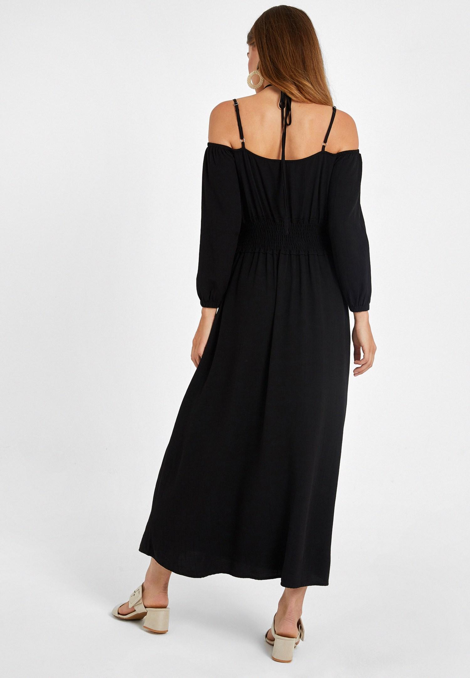Bayan Siyah Omuz Detaylı Uzun Elbise