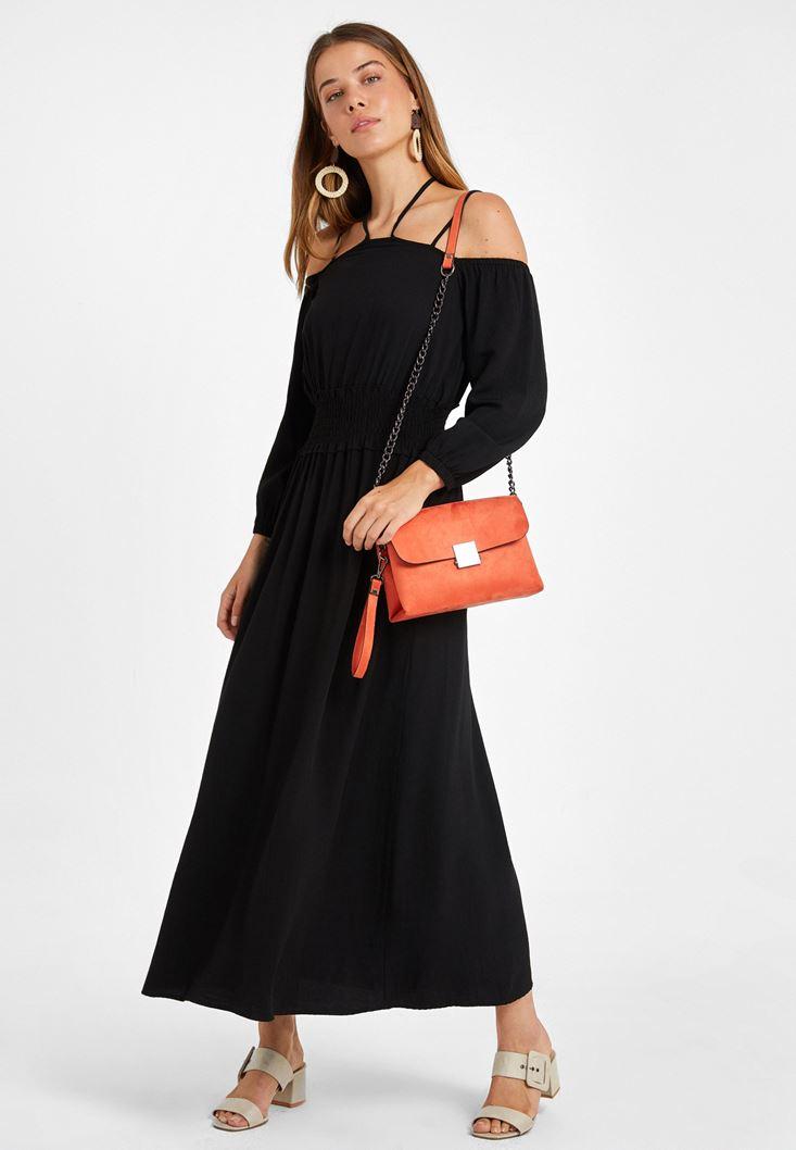 Omuz Detaylı Uzun Elbise