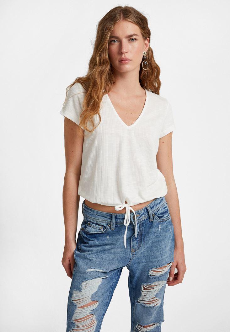 Cream Bow Detailed T-Shirt