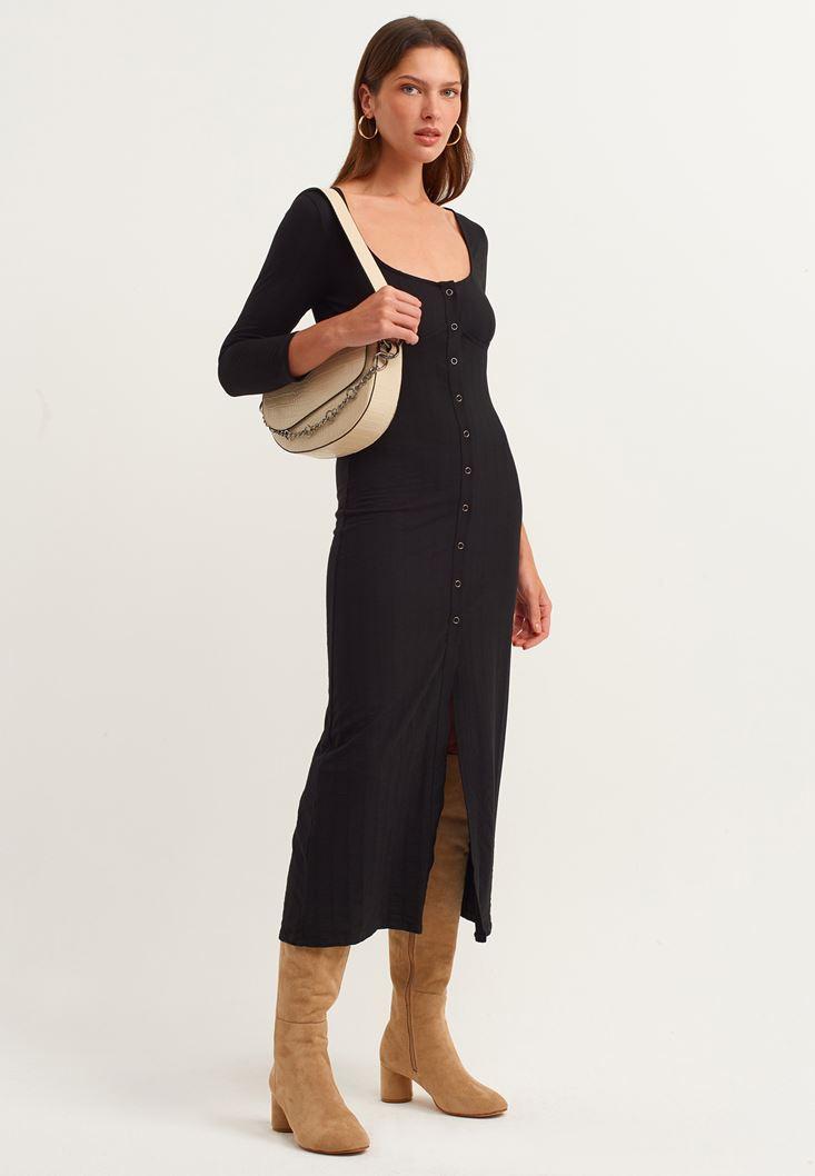 Siyah Düğme Detaylı Uzun Elbise
