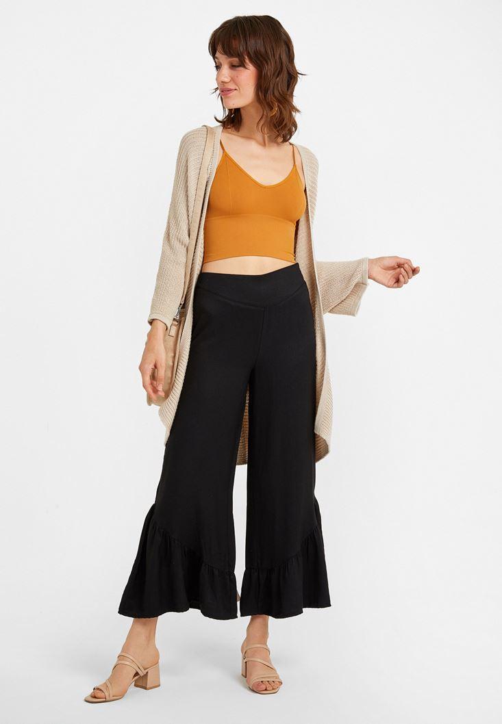 Siyah Fırfır Detaylı Bol Pantolon