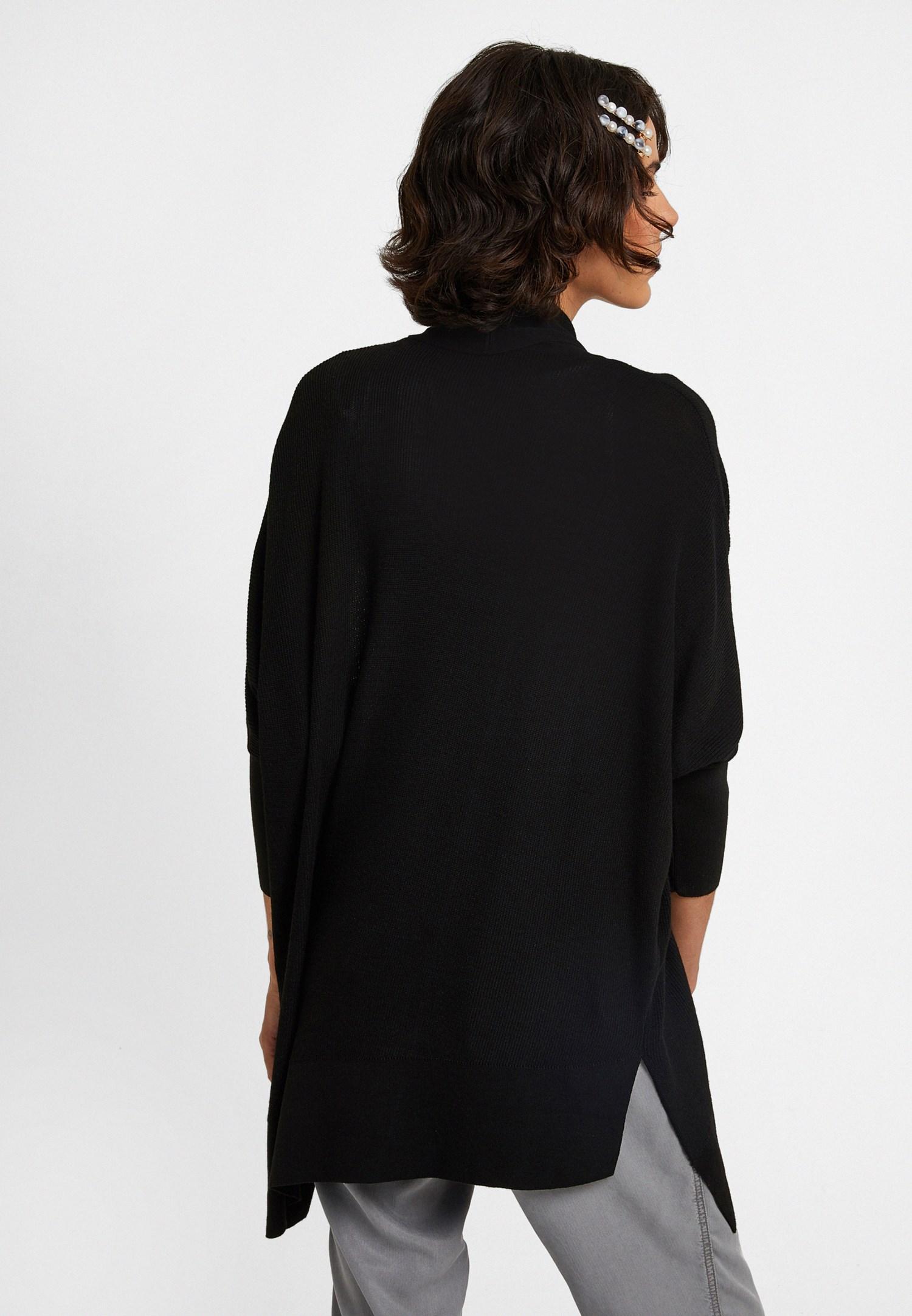 Bayan Siyah Fermuar Detaylı Asimetrik Hırka