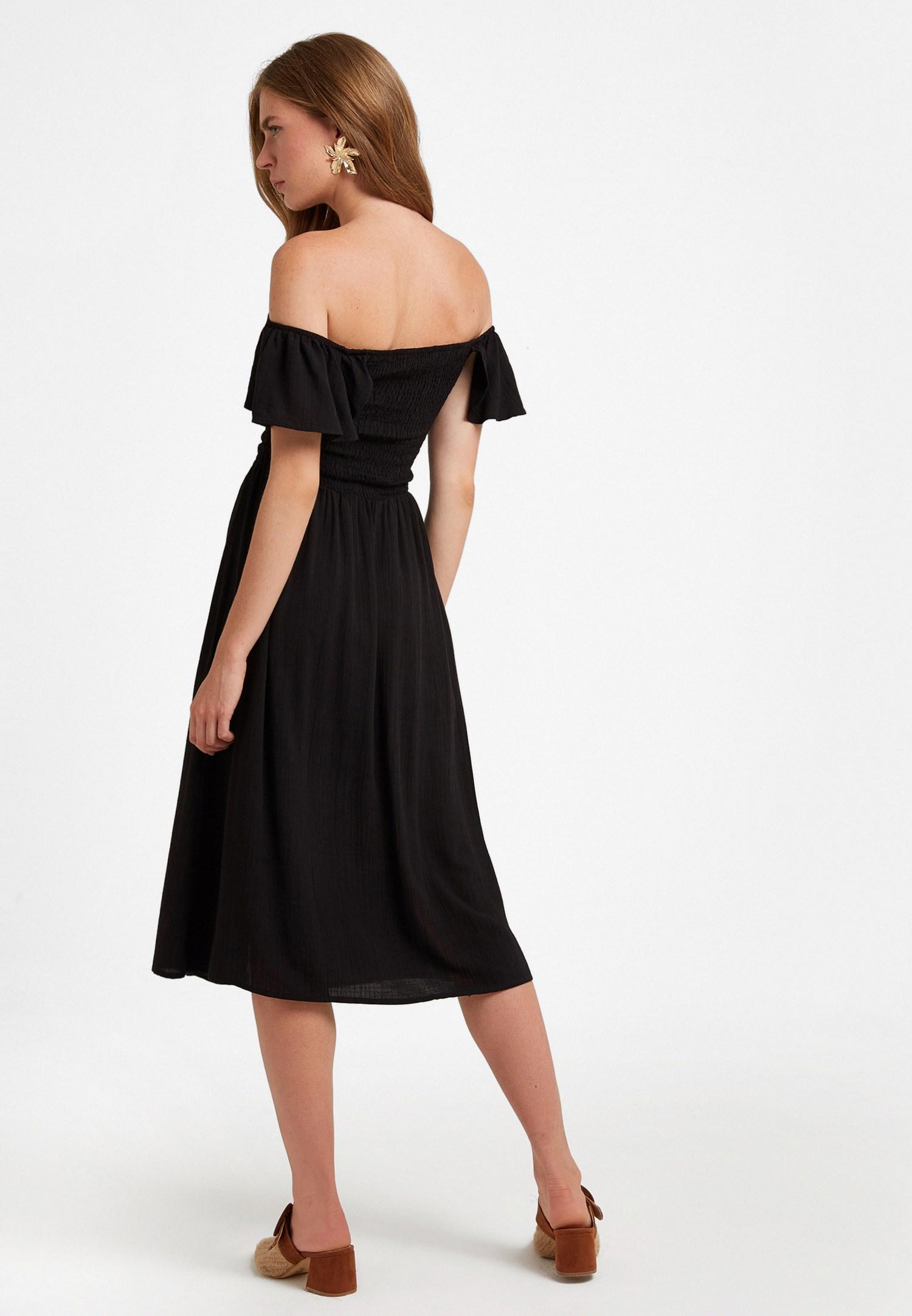 Bayan Siyah Nakış Detaylı Uzun Elbise