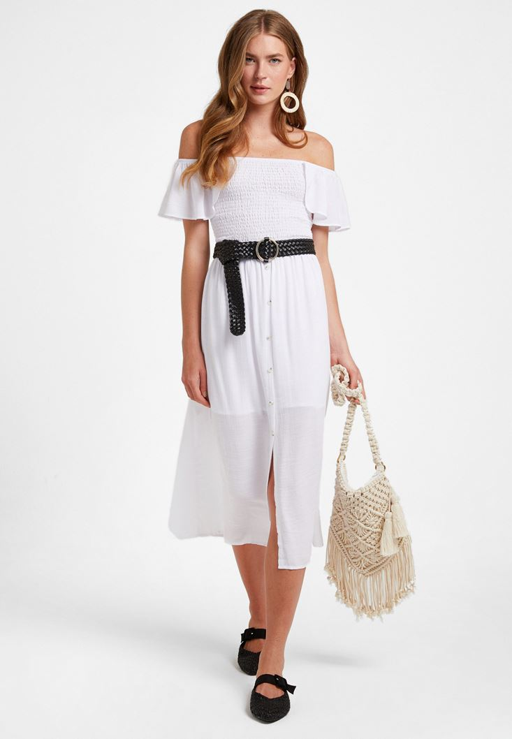 Beyaz Nakış Detaylı Uzun Elbise