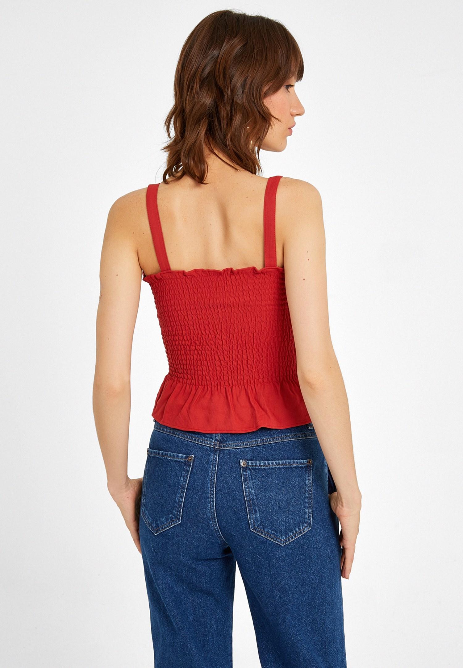 Bayan Kırmızı Askılı Gipeli Bluz