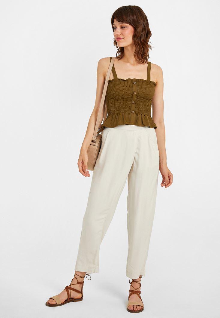 Krem Beli Lastik Detaylı Cepli Bol Pantolon