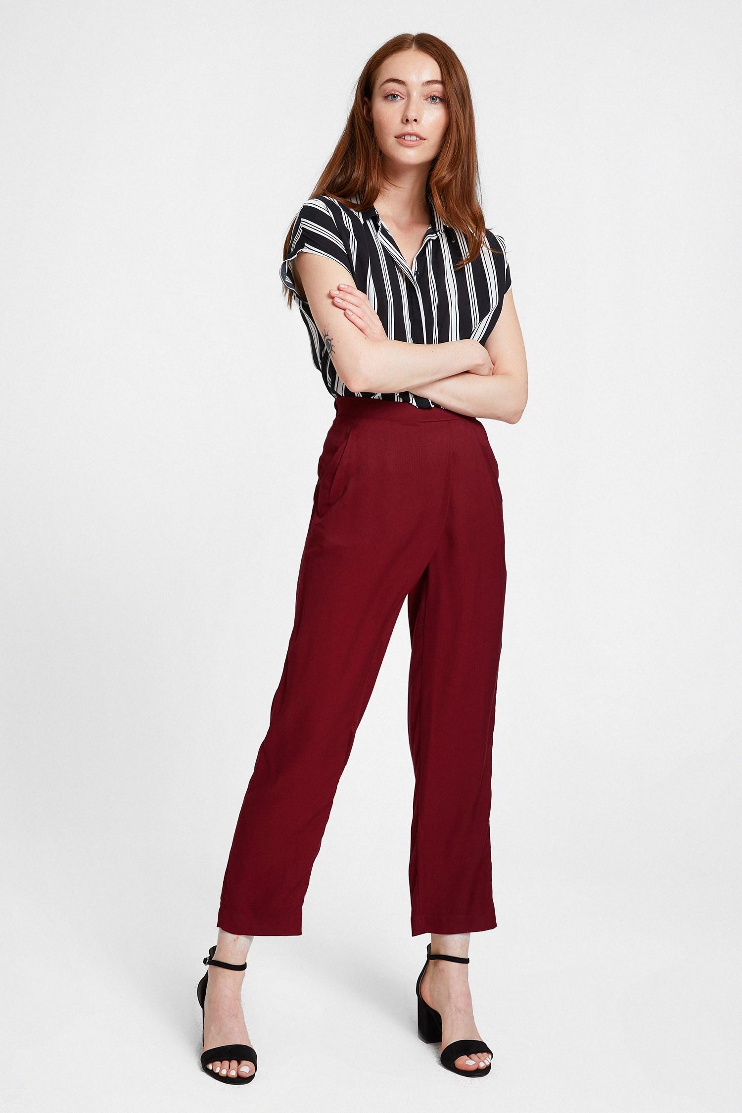 Bayan Bordo Beli Lastik Detaylı Cepli Bol Pantolon