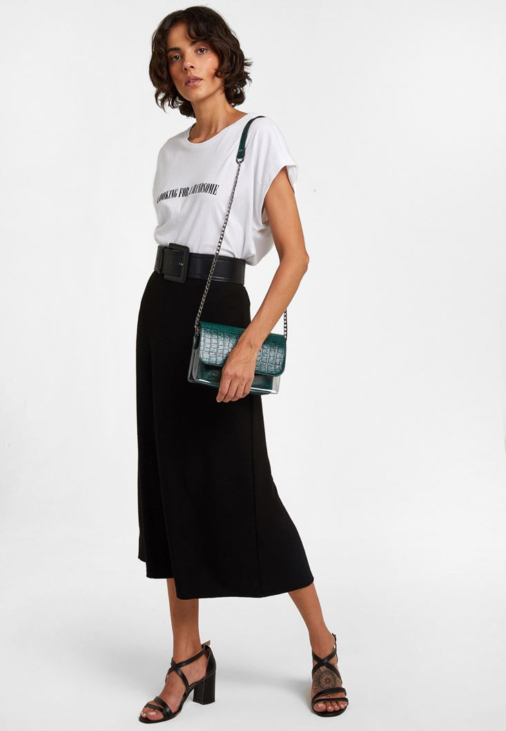 Black Midi Skirt with Texture