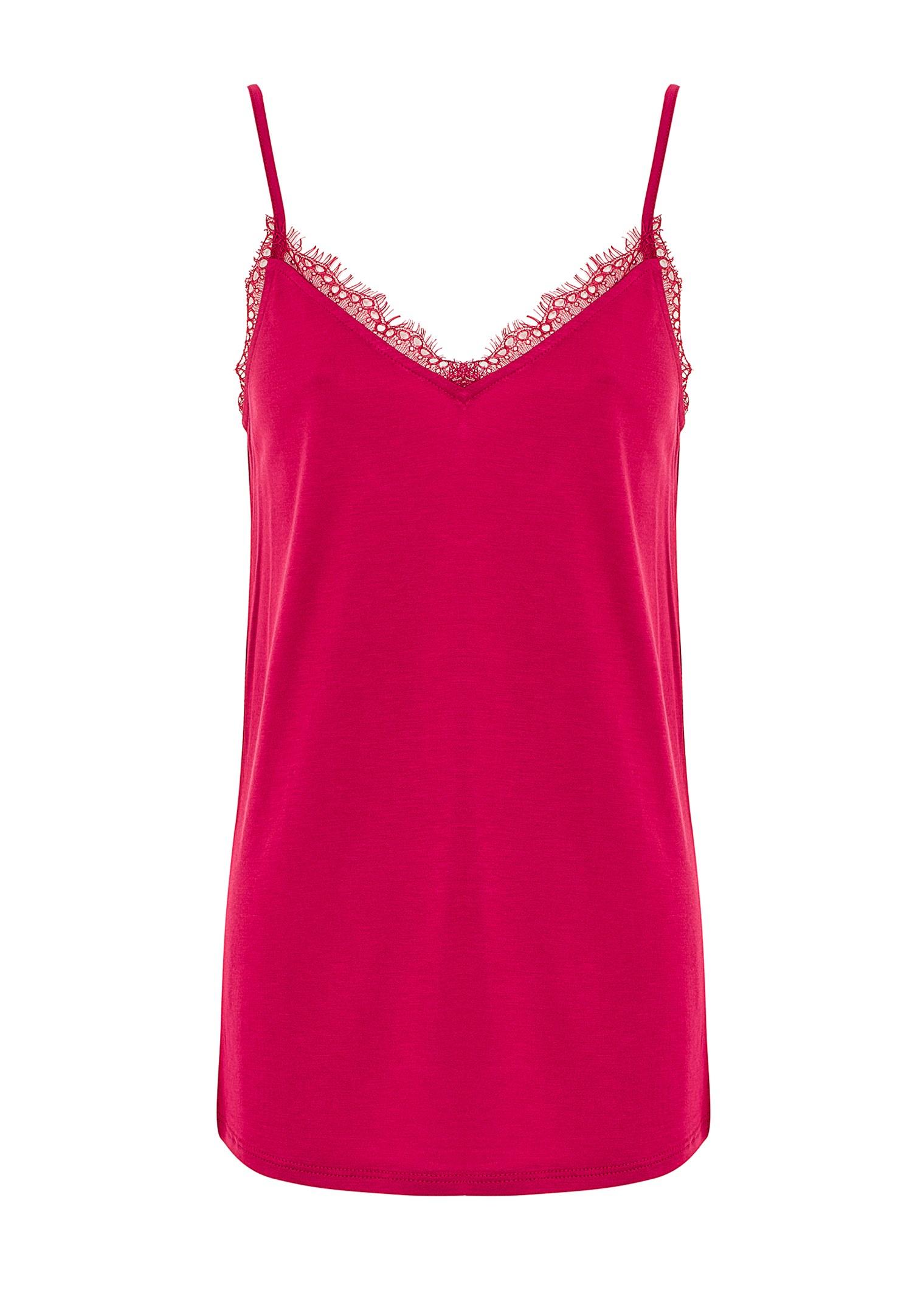 Women Pink Lace Detailed Tank