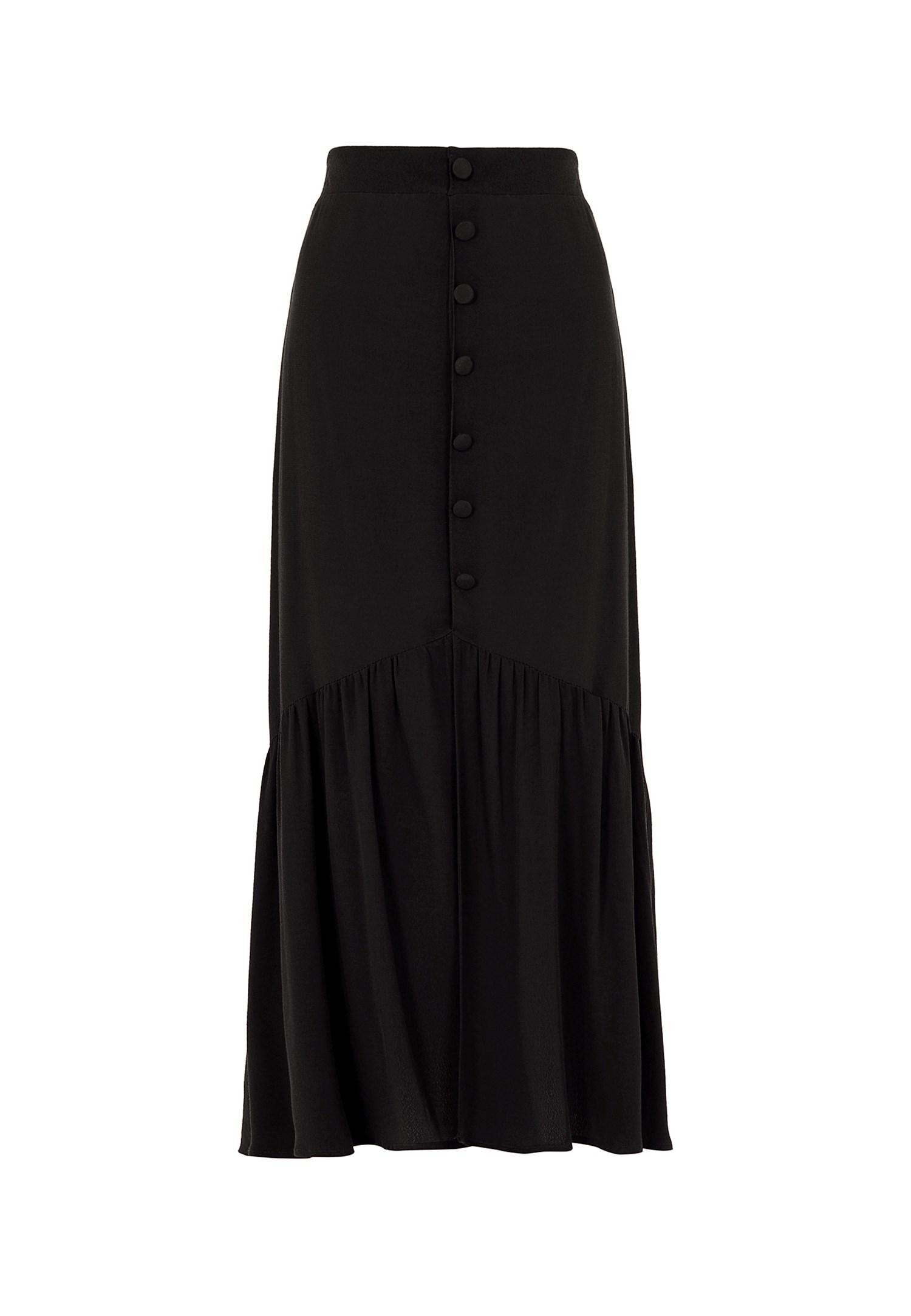 Bayan Siyah Düğme Detaylı Maxi Etek
