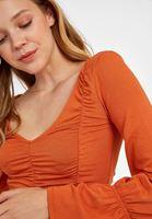 Bayan Turuncu Büzgü Detaylı V Yaka Bluz