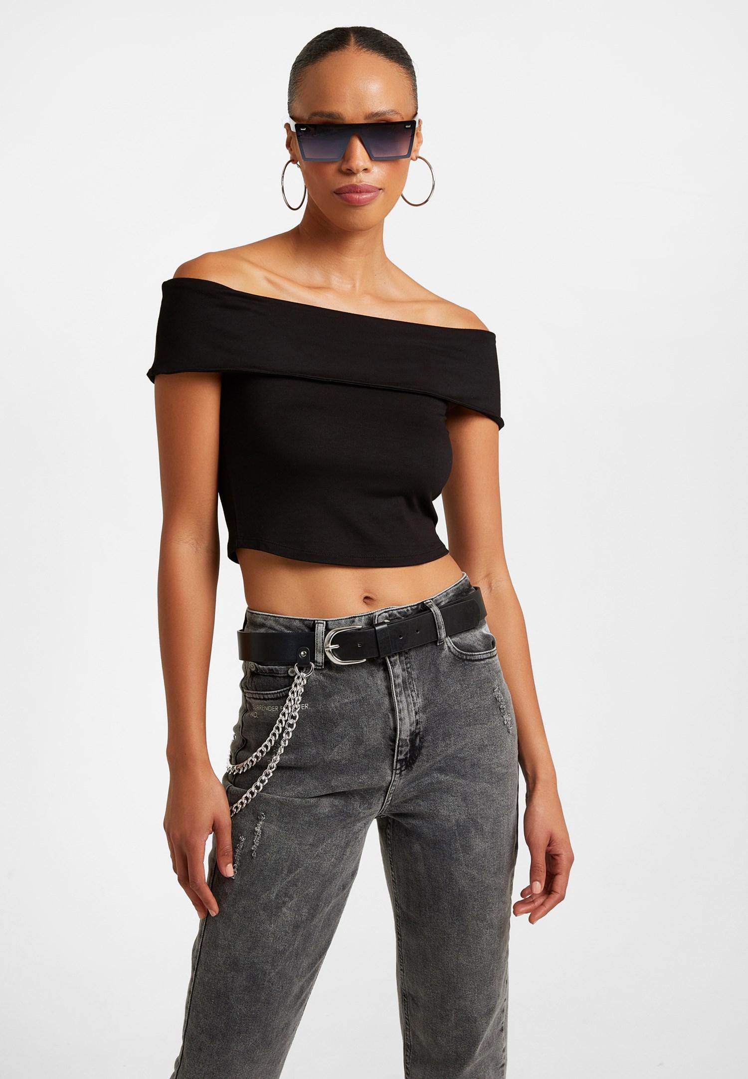 Women Black Off-Shoulder Top