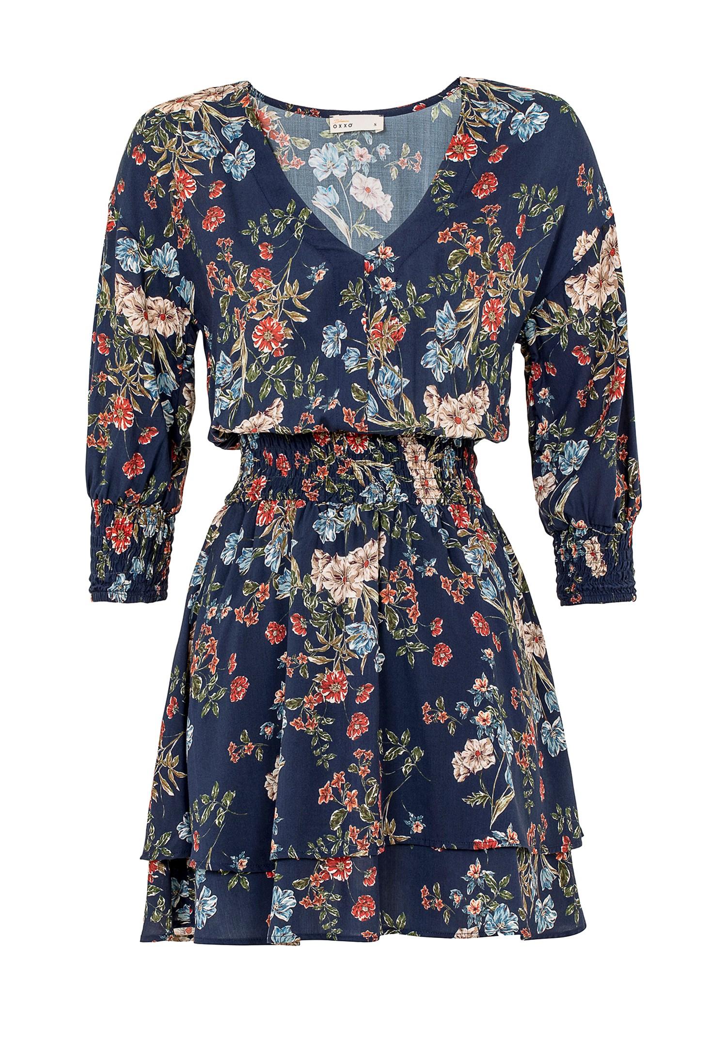 Bayan Çok Renkli Beli Büzgülü Kısa Elbise