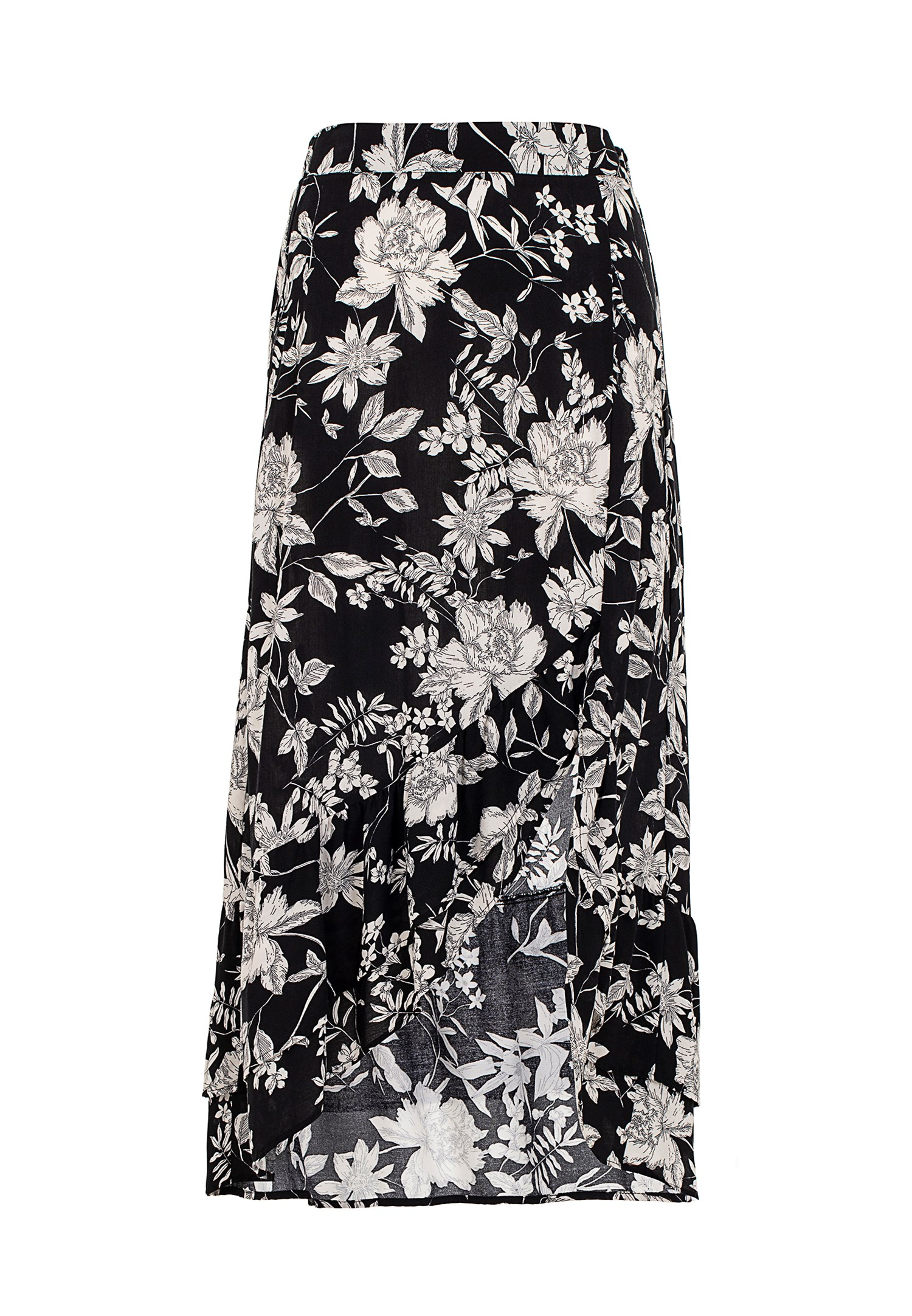 5da0ea7452ba6 Siyah Çiçek Desenli Midi Etek Online Alışveriş 19KOX-VISFLOKAT19K | OXXO