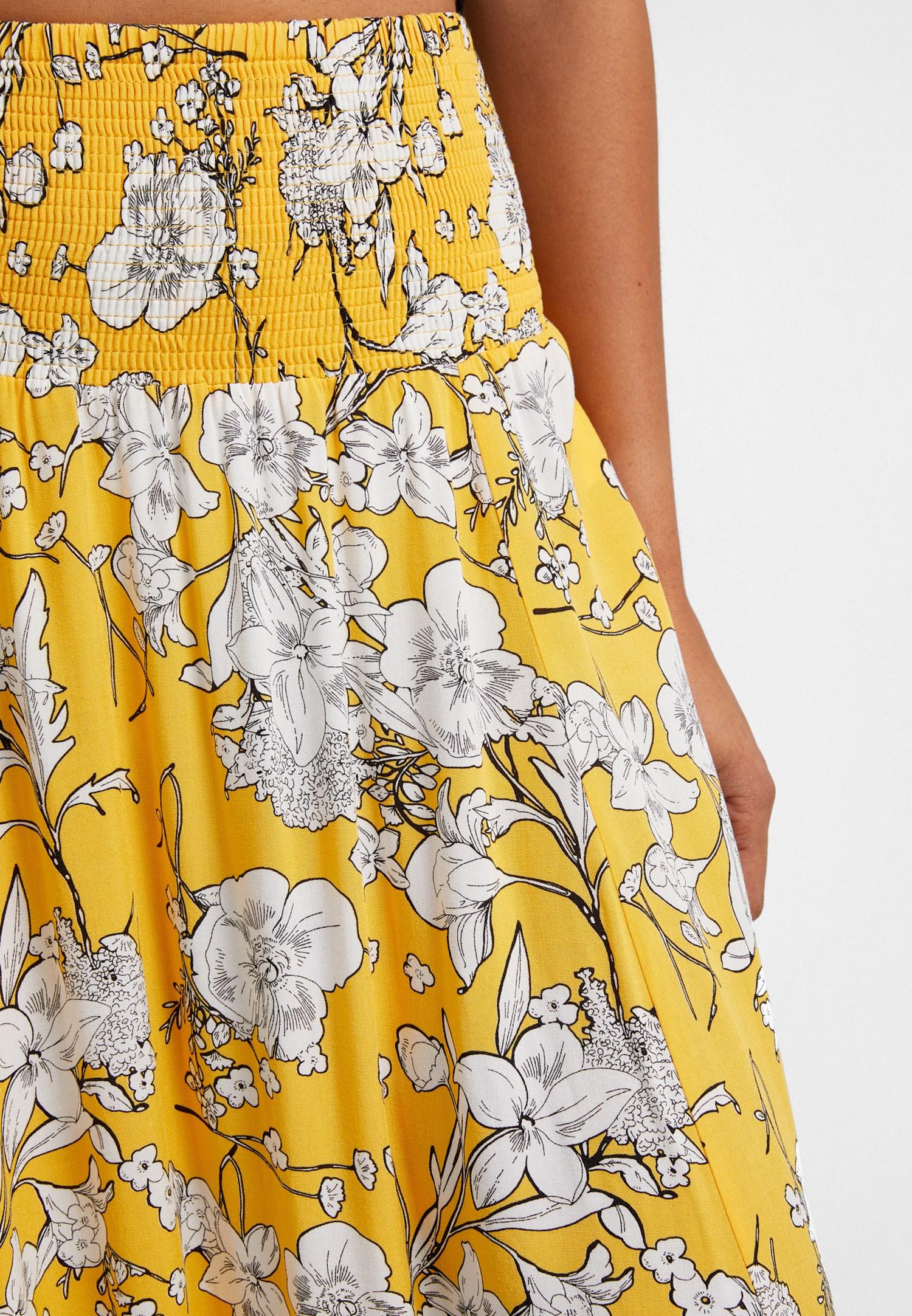 Bayan Sarı Desenli Midi Etek