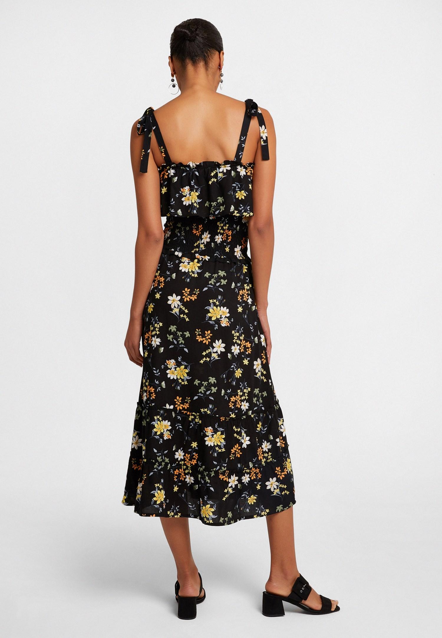 Bayan Siyah Desenli Uzun Elbise