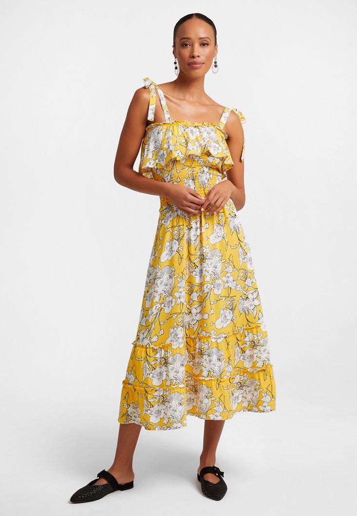 Sarı Desenli Uzun Elbise
