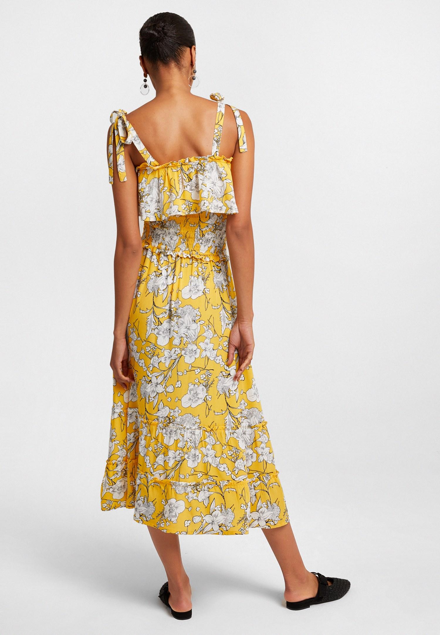 Bayan Sarı Desenli Uzun Elbise
