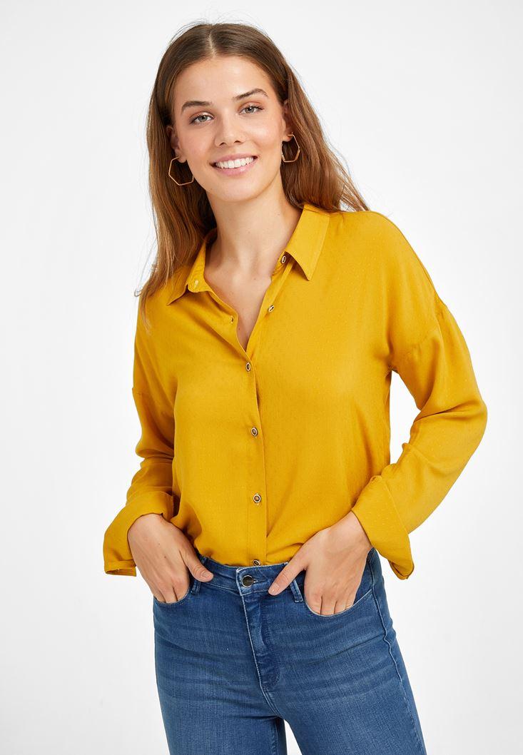 Sarı Kumaş Detaylı Viskon Gömlek