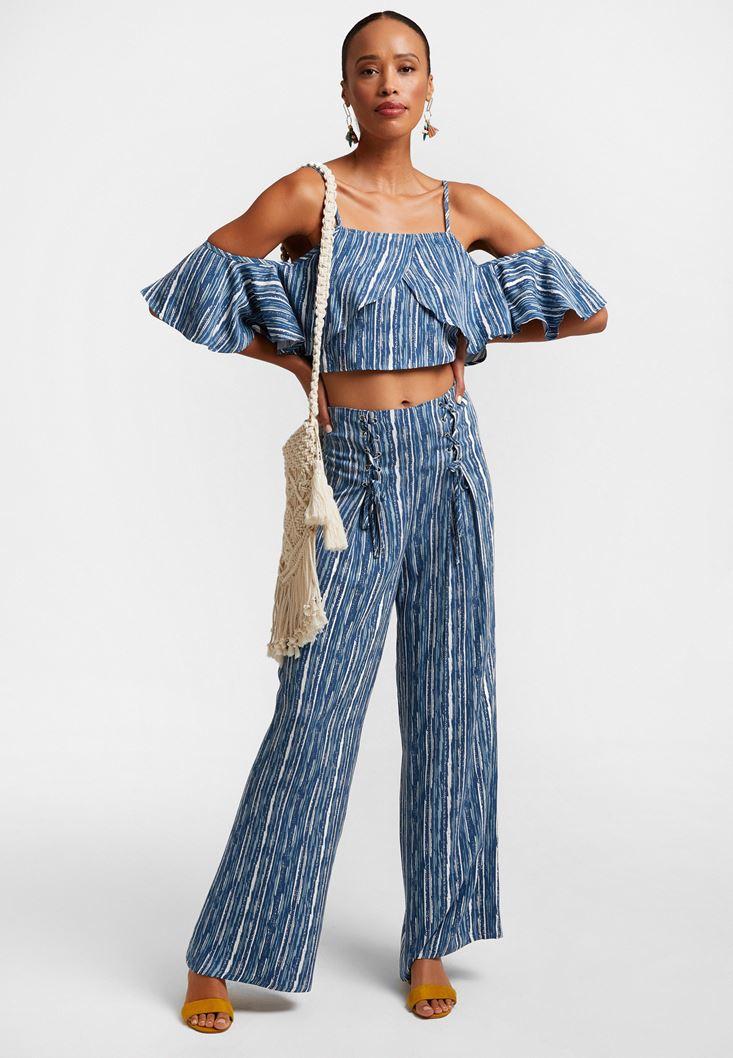 Çok Renkli Beli Bağlama Detaylı Bol Pantolon