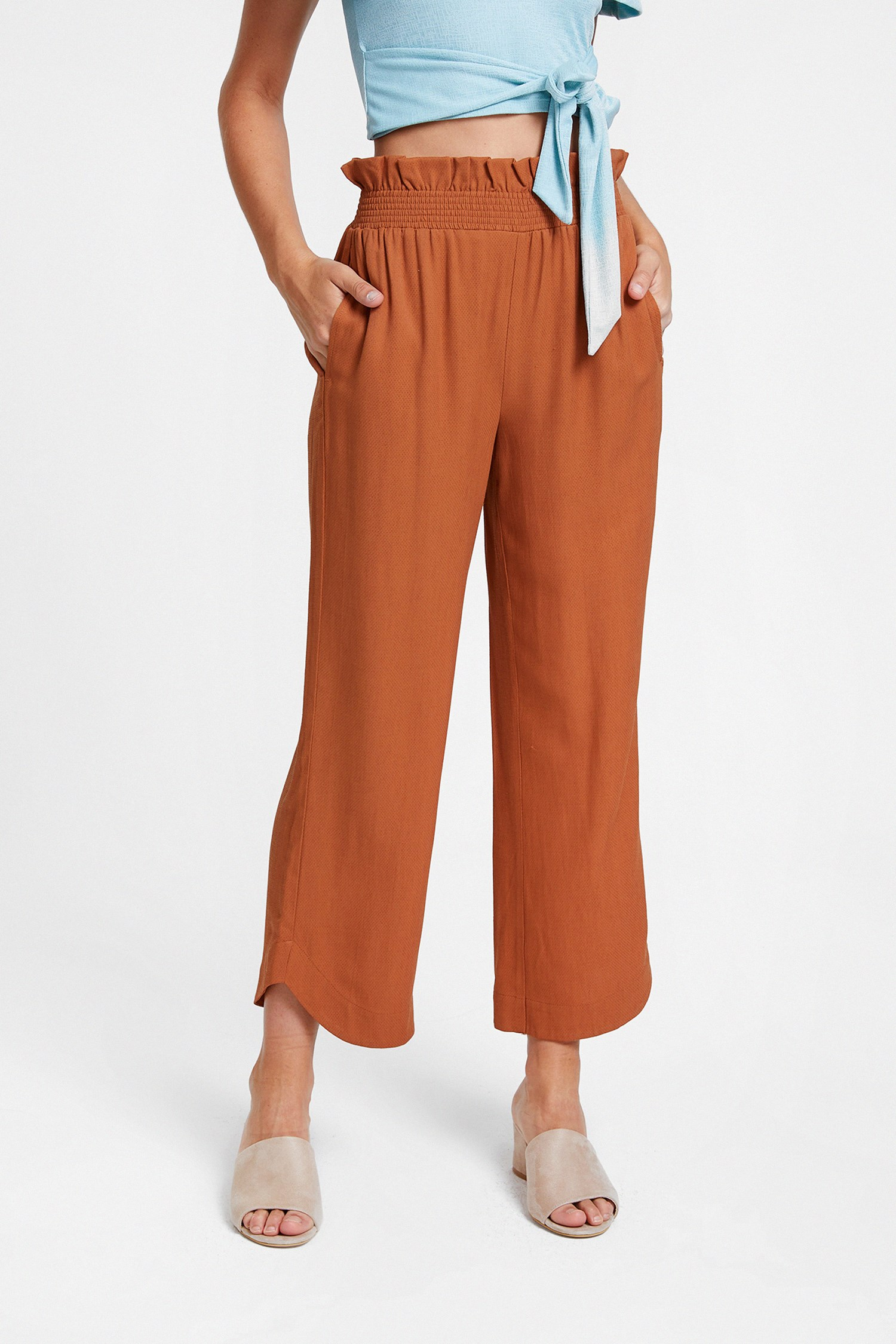 Bayan Kahverengi Beli Lastikli Bol Pantolon