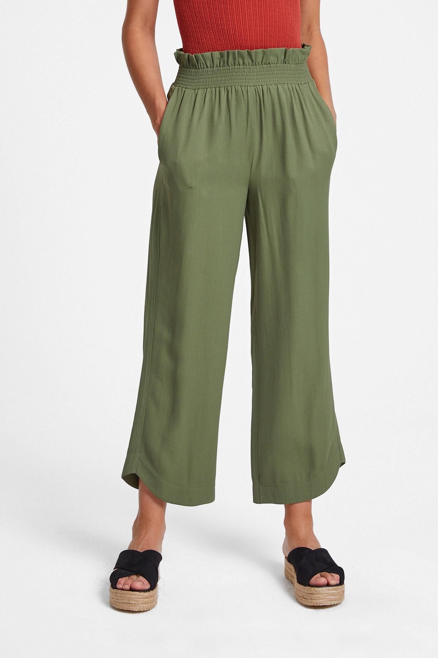 Women Green Elastic-Waisted Trousers