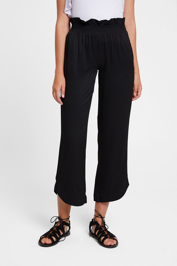 Black Elastic-Waisted Trousers