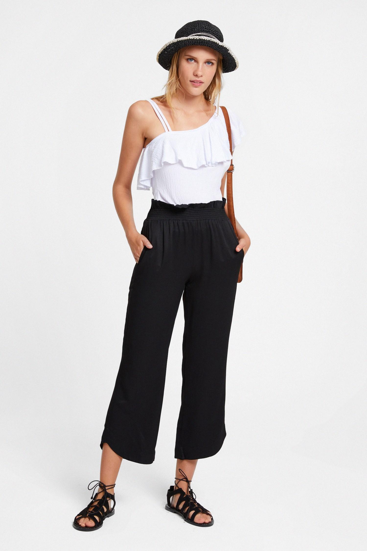 Women Black Elastic-Waisted Trousers
