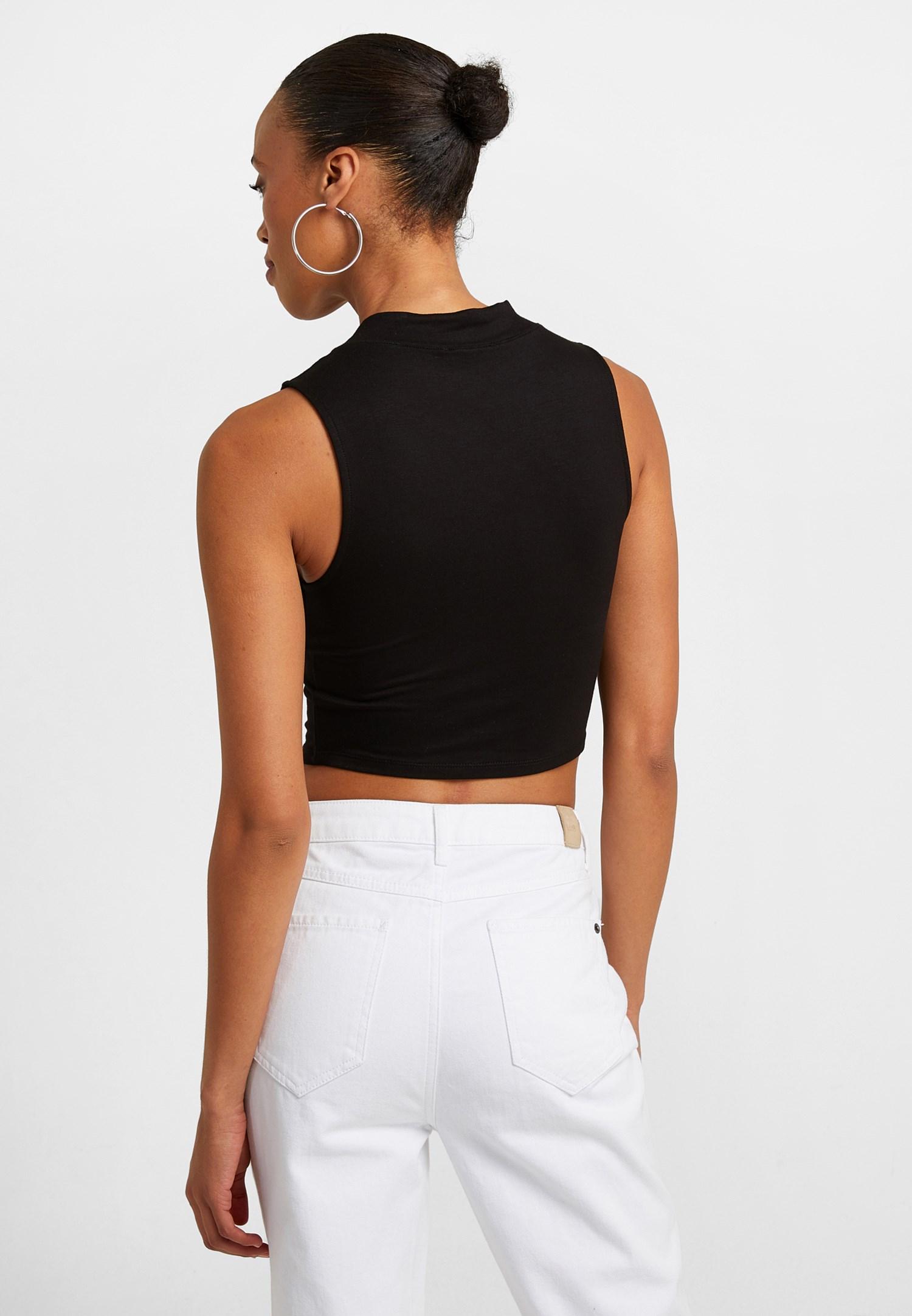 Women Black Crop Top with Slogan