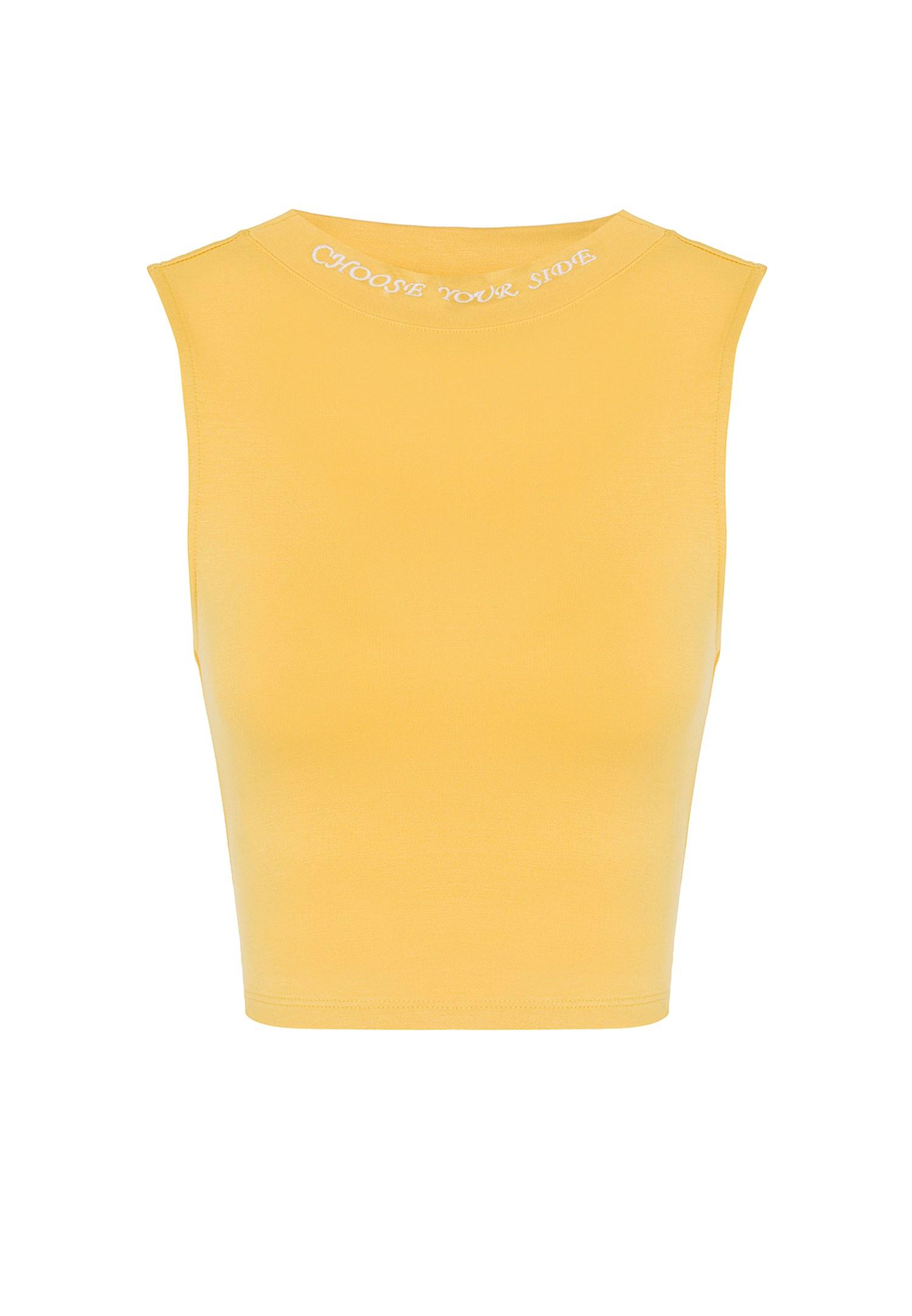Bayan Sarı Yüksek Yaka Kısa Atlet