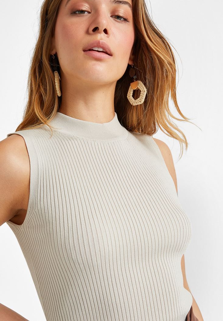 Cream Halter Neck Knitwear Top