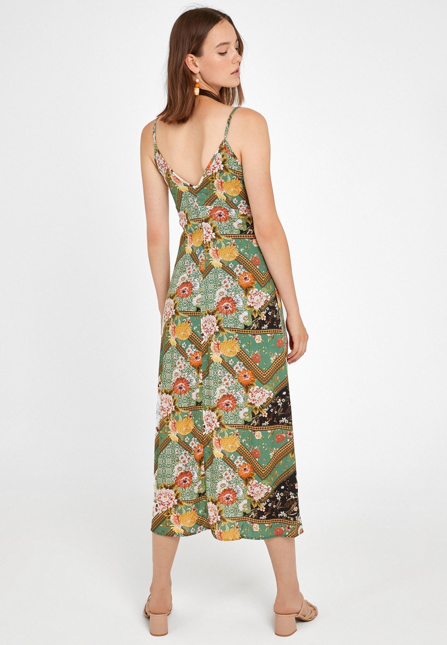 Bayan Çok Renkli Yırtmaç Detaylı Desenli Uzun Elbise