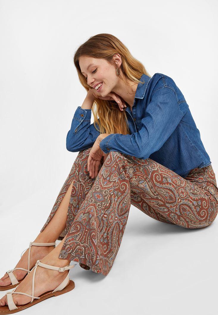 Çok Renkli Yırtmaç Detaylı Flare Tayt Pantolon